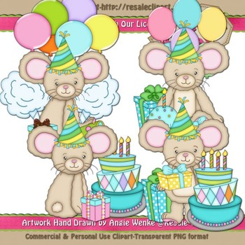 Lil Birthday Mice Boys ClipArt - Commercial Use