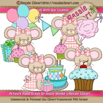 Lil Birthday Mice Girls ClipArt - Commercial Use