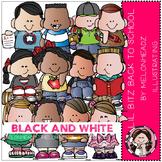 Lil Bitz Back to School clip art - BLACK AND WHITE - by Melonheadz