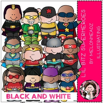 Lil Bitz Superheroes clip art - BLACK AND WHITE - by Melonheadz