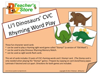 Li'l Dinosaurs' CVC Rhyming Word Play