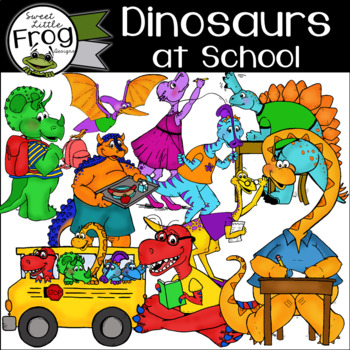 Dinosaurs at School Clip Art