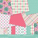 Lil Flowers Paper Pack - 10 printable Digital Scrapbooking papers