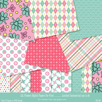 Lil Flowers Paper Pack - 10 printable Digital Scrapbooking papers