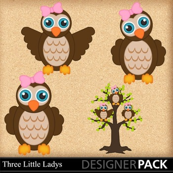 Lil Gril Owls in Tree- Clip Art