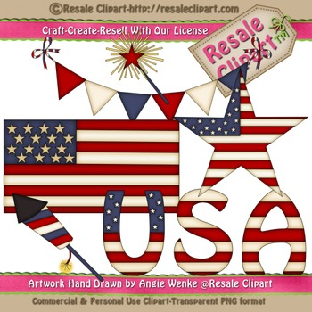 Lil Patriotic 2 ClipArt - Commercial Use - Digital Download