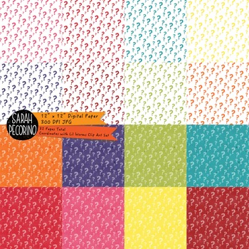 Lil Worm Digital Papers: Question Marks and Stars