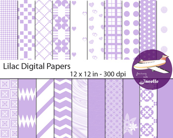 Lilac Digital Papers for Backgrounds, Scrapbooking and Classroom Decorations