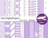 Lilac Digital Papers for Backgrounds, Scrapbooking and Cla