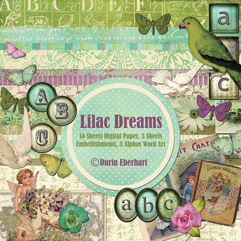 Lilac Dreams Printable Digital Paper, Embellishments and Alphas