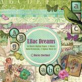 Lilac Dreams Printable Digital Paper, Embellishments and Alphas