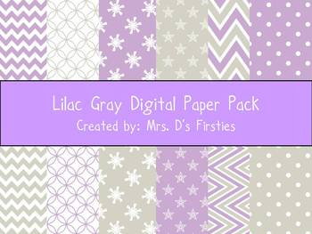 Lilac Gray Digital Paper Pack