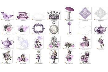 Lilac Purple Alice in Wonderland Clipart