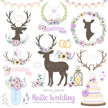Lilac Rustic Wedding Clipart Purple Deer And Flower