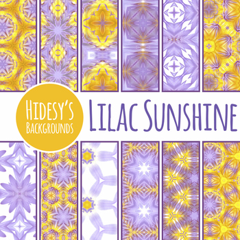 Lilac Sunshine - Purple and Yellow Backgrounds / Digital Papers Clip Art Set