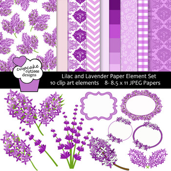 Lilac and Love Digital Paper and Clip Art Collection Set