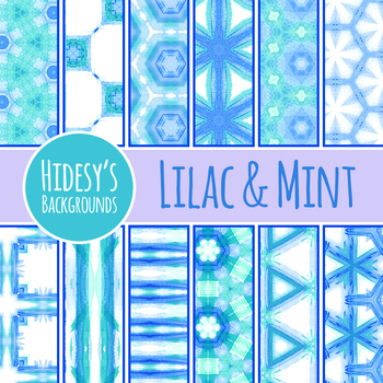 Lilac to Mint Watercolor Painted Background / Digital Papers Commercial Use