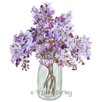 Lilacs in Vase - lilac clip art, lilac painting Printable Tracey Gurley Designs