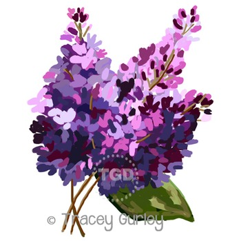 Lilacs - lilac clip art, lilac painting Printable Tracey Gurley Designs