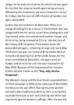 Lilian Lenton - Suffragette Handout