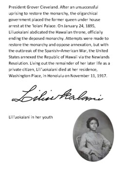 Liliuokalani - The first queen and last monarch of the Kingdom of Hawaii Handout
