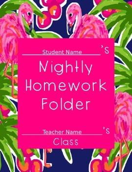 Lilly Inspired Flamingo Editable Homework Folder Cover