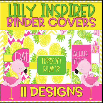 Lilly Inspired Pineapple Theme Pink Yellow Green Binder Covers- EDITABLE
