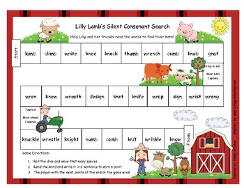 lilly lamb 39 s silent letters gn kn wr mb literacy station game rf 1 3 rf 2 3. Black Bedroom Furniture Sets. Home Design Ideas
