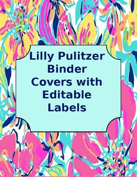 photo about Lilly Pulitzer Printable Binder Covers known as Lilly Pulitzer Binder Handles Worksheets Education Elements