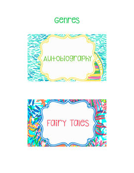 Lilly Pulitzer Book Bin Labels