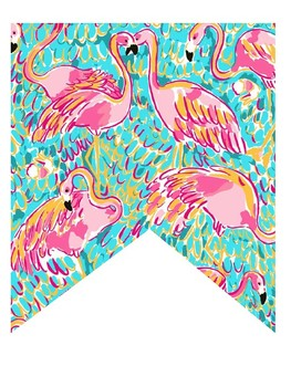 Lilly Pulitzer Inspired Blank Flamingo Banner (Editable)