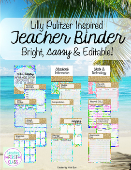 Lilly Pulitzer Inspired, Editable Teacher Binder