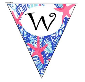 Lilly Pulitzer Inspired Pendant Welcome Banner EDITABLE VERSION