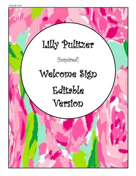Lilly Pulitzer Inspired Welcome Banner/ Reading Banner (All Editable)