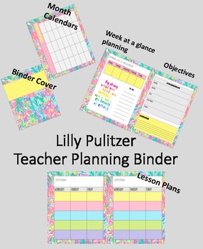 Lilly Pulitzer Teacher Planning Binder