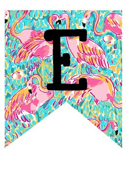 Lilly Pulitzer Inspired Flamingo Welcome Banner