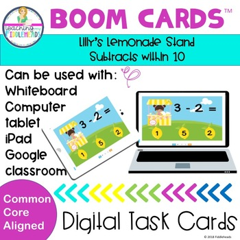 Lilly's Lemonade Stand Subtract within 10 Boom Cards