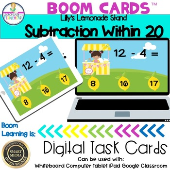 Lilly's Lemonade Stand Subtraction Within 20 Boom Cards