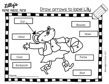 Lilly's Purple Plastic Purse READ AND COLOR AND LABEL THE CHARACTERS