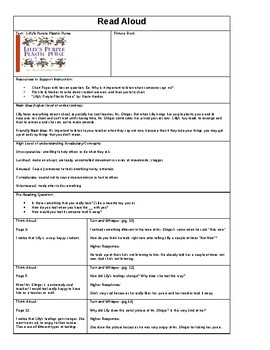 Lilly's Purple Plastic Purse Read Aloud Lesson Plan