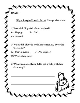 Lilly's Purple Plastic Purse by Kevin Henkes Book Companion Guide