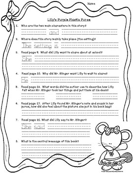 Lilly's Purple Plastic Purse: text-dependent questions and worksheet