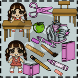 Lilly's School Supplies (IN PINK) Clip Art