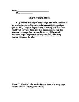 Lilly's Walk to School: Problem Solving