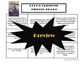 Lily's Crossing Choice Board Tic Tac Toe Novel Study Activities Project