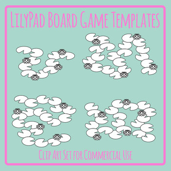 Lilypad Board Game Templates - Lily Pad in Pond with Flowers Clip Art Blank