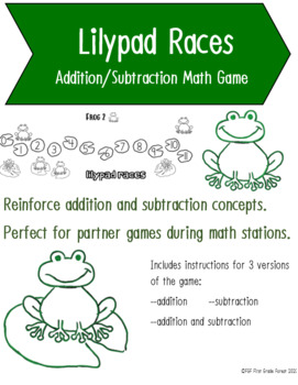 Lilypad Races - Addition/Subtraction Math Game