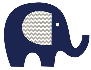 Lime, Aqua and Navy Elephants