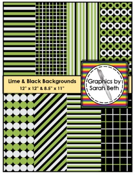 Lime & Black Digital Backgrounds - Graphics - Clipart
