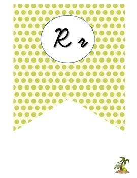 Lime, Black, and White Cursive Alphabet Banner